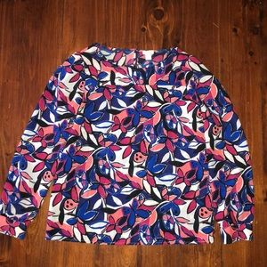 J Crew Factory Abstract Floral Blouse